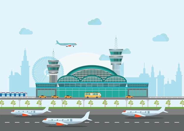 Gebäude flughafen mit landebahn und flugzeug