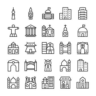Gebäude, grenzstein-linie ikonen