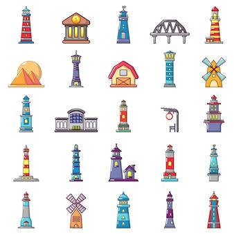 Gebäude-icon-set. karikatursatz gebäudevektorikonen eingestellt lokalisiert