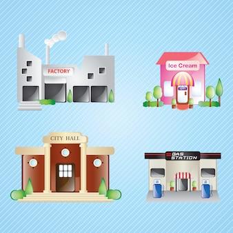 Gebäude icons set differents häuser (colletion 3) auf blauem hintergrund
