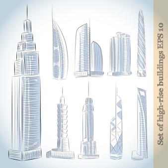 Gebäude icons set von modernen wolkenkratzern