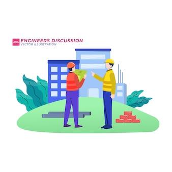 Gebäude im bau flache abbildung. vorarbeiter und architekten diskutieren architekturprojekt, bauherren auf baustellenzeichentrickfiguren. ingenieure zeigen blaupause