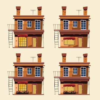 Gebäude in der stadtvektorillustration eingestellt