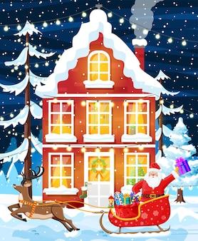 Gebäude in feiertagsverzierung. weihnachtslandschaft