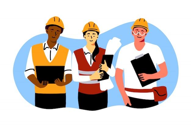 Gebäude, industrie, teamwork, engineering-konzept