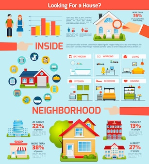 Gebäude-infografik-set