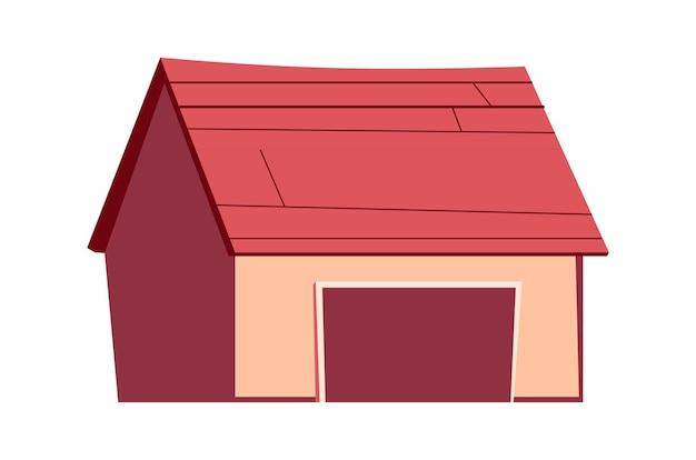 Gebäude isoliert, garage, schuppenkarikaturillustration