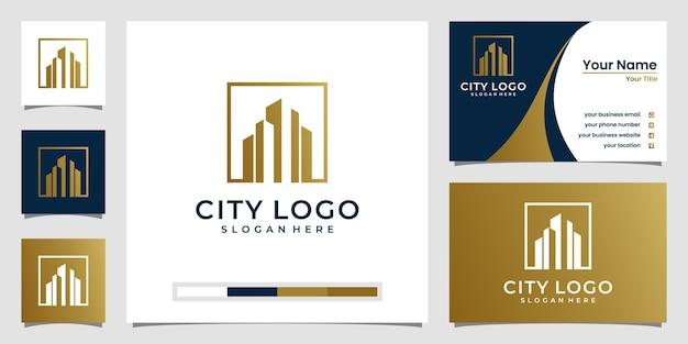 Gebäude logo design in strichzeichnungen. logo-design und visitenkarten-design