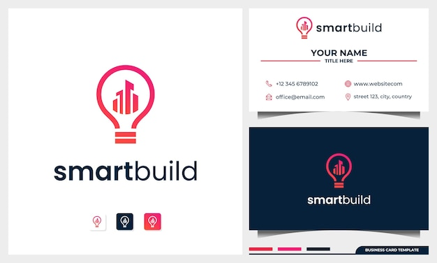 Gebäude-logo-design mit glühbirnenkonzept und visitenkartenschablone