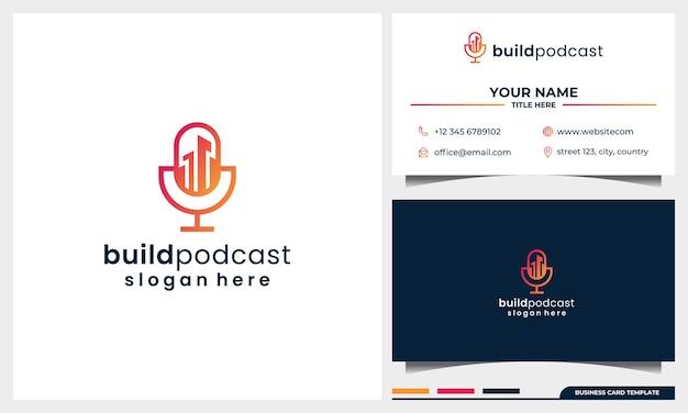 Gebäude-logo-design mit mikrofon-podcast-konzept und visitenkartenvorlage