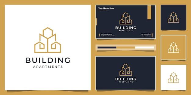 Gebäude logo design mit modernem konzept. logo-design und visitenkarte