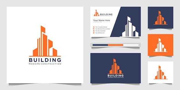 Gebäude logo design mit modernem konzept. stadtbaukonstruktion abstrakt für logo-design-inspiration. logo-design und visitenkarte