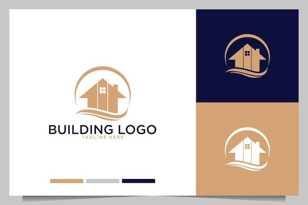 Gebäude mit haus- und wellenlogo-design