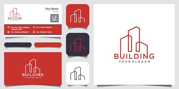 Gebäude mit linienkonzept. stadtgebäude abstrakt für logo inspiration. visitenkarten-design