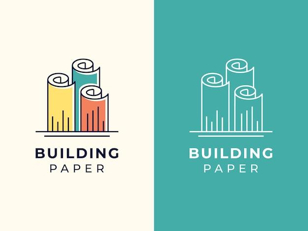 Gebäude mit papierlogo-designkonzept