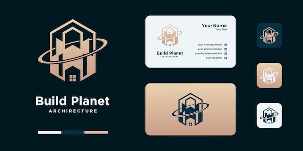 Gebäude mit planetenkonzept. stadtgebäude abstrakt für logo-design-vorlage.