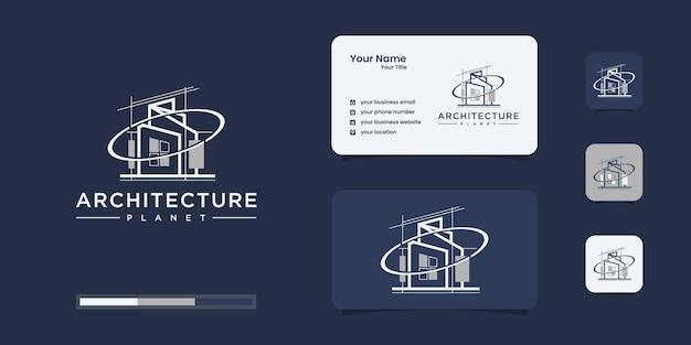 Gebäude mit planetenkonzept. stadtgebäude abstrakt für logo-inspiration