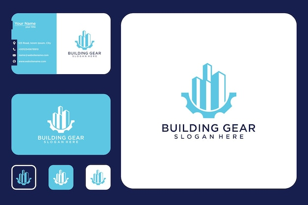 Gebäude mit zahnrad-logo-design und visitenkarte