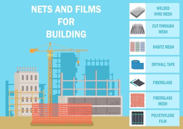 Gebäude netze, maschen und filme flat vector banner