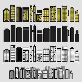 Gebäude schwarz-weiß-icon-set