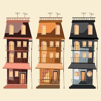 Gebäude set vektor-illustration