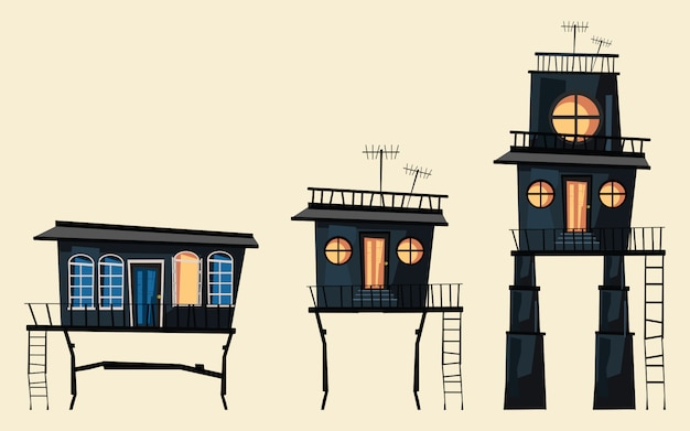 Gebäude set vektor-illustration