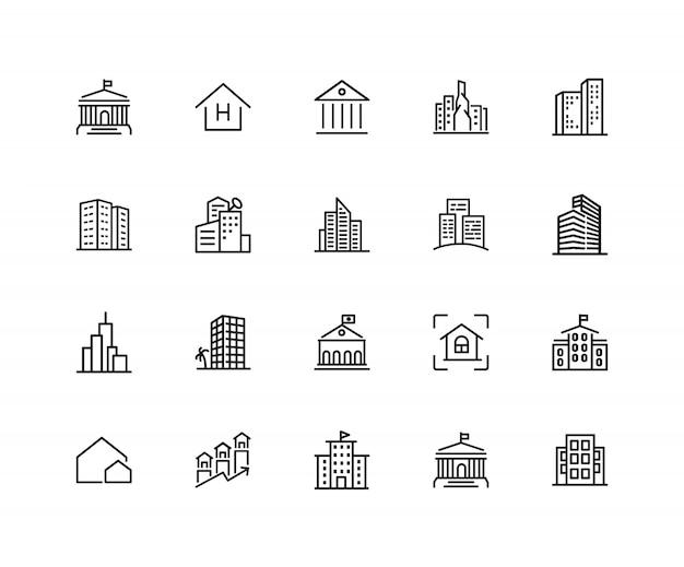 Gebäude symbole. satz von zwanzig linie ikonen. wolkenkratzer, hotel, stadtbild.
