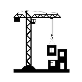 Gebäude turmdrehkran-symbol - vektor, flaches design. eps 10