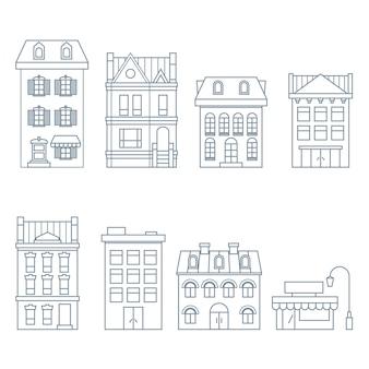 Gebäude und häuser im europäischen stil - stadthaus, wohnung und hotel