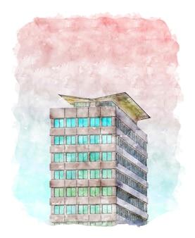Gebäude und himmel aquarell digitales kunstpapier dekor wandplakat