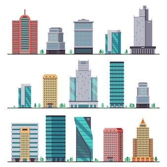 Gebäude und moderne stadthäuser flache ikonen. satz von gebäude bürostadt
