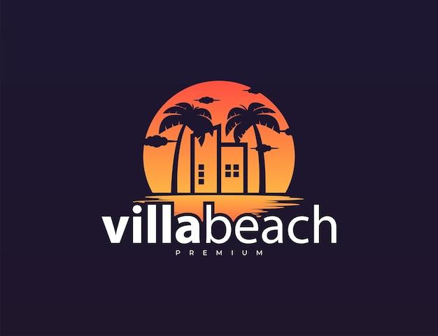 Gebäude und palme mit sonnenuntergang-logo-design