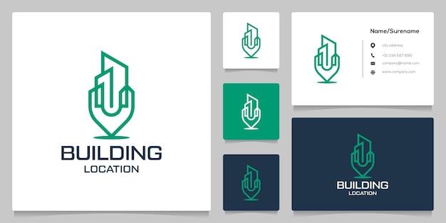 Gebäude- und pin-point-karte standortlinie umriss-logo-design