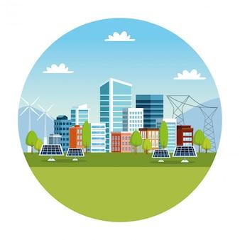 Gebäude und sonnenkollektoren stadtbildszene