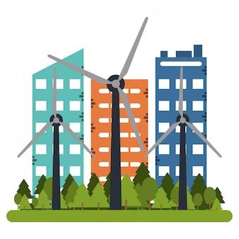 Gebäude- und windkraftanlagen