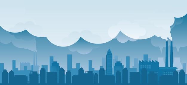 Gebäude und wolkenkratzer skyline mit fabrik