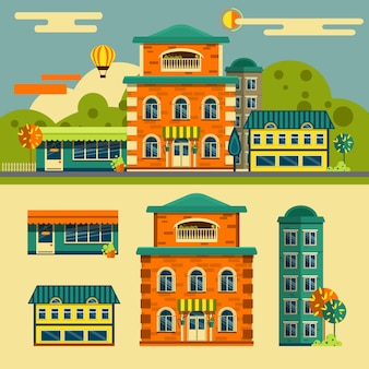 Gebäude vektor festgelegt. kleinstadtstraßenlandschaft im flachen stil. design-elemente