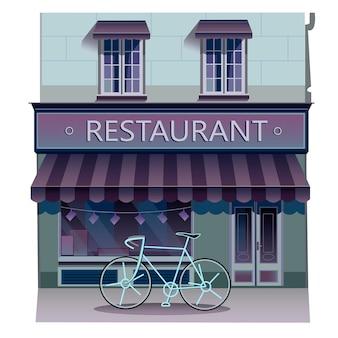 Gebäude-vektor-illustration isoliert auf weißem hintergrund restaurant stock illustration
