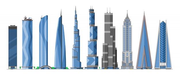 Gebäude wolkenkratzer in der stadtbildstadt-skyline und im geschäftsbürogebäude des handelsunternehmens und im aufbau der architektur zum hohen himmel setzen illustration auf weißem hintergrund