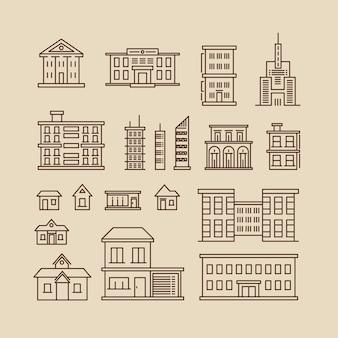 Gebäude zeichnen dünne vektorikonen