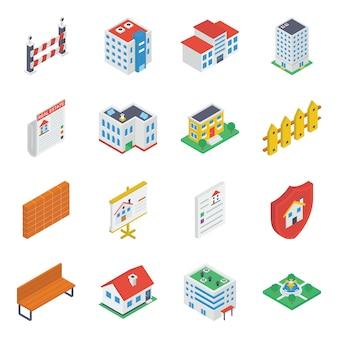 Gebäude zubehör isometrische icons pack