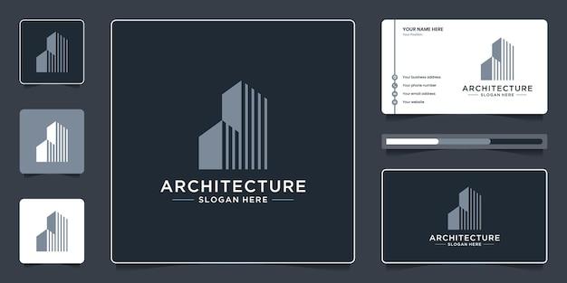 Gebäudearchitektur-logo-design-branding. minimalistische immobilien-logo-vorlage.
