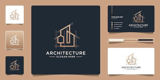 Gebäudearchitektur-logo-design mit abstraktem struktur-logo-design und visitenkarten-branding