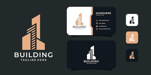 Gebäudearchitektur-wohnungslogo und visitenkartenentwurfsinspirationsschablone.