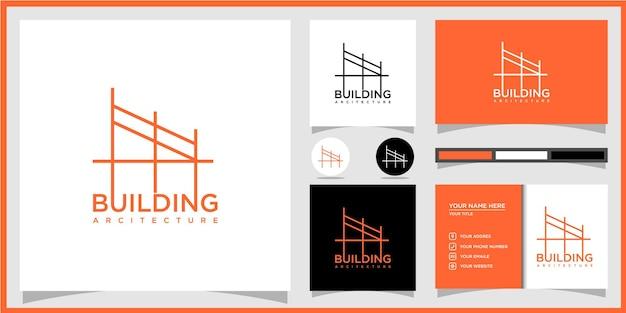 Gebäudearchitekturlogo mit einzigartigem strichzeichnungsstil und visitenkarte