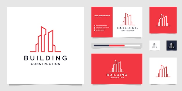 Gebäudedesign-logos mit linien. bau, wohnung, stadtgebäude und architekt.