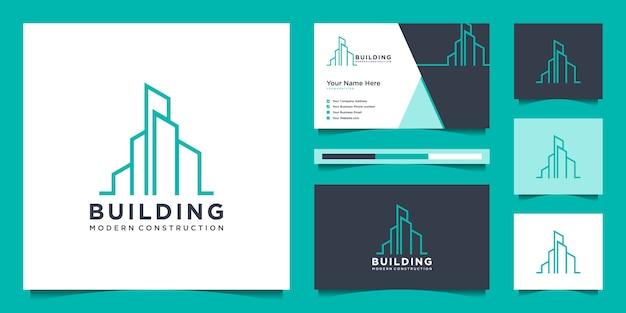 Gebäudedesignlogos mit linienstil. symbol für bau, wohnung und architekt. premium-logo-design und visitenkarten.