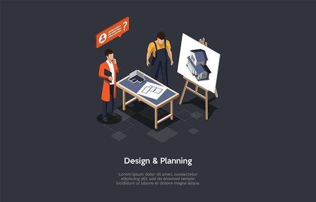 Gebäudeentwurf und planungsunternehmenskonzeptillustration.