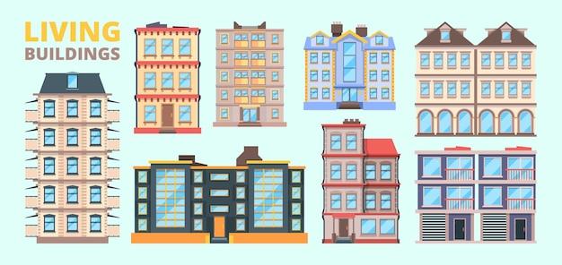 Gebäudefassade. wohnhäuser villen städtische außenhaus innenstadt vektorlandschaft. stadtarchitektur außen, fassade straßenillustration
