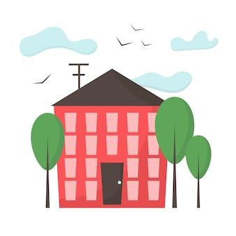 Gebäudefassadenillustration ein gebäude ist rot mit fenstern und einer tür stadtlandschaft